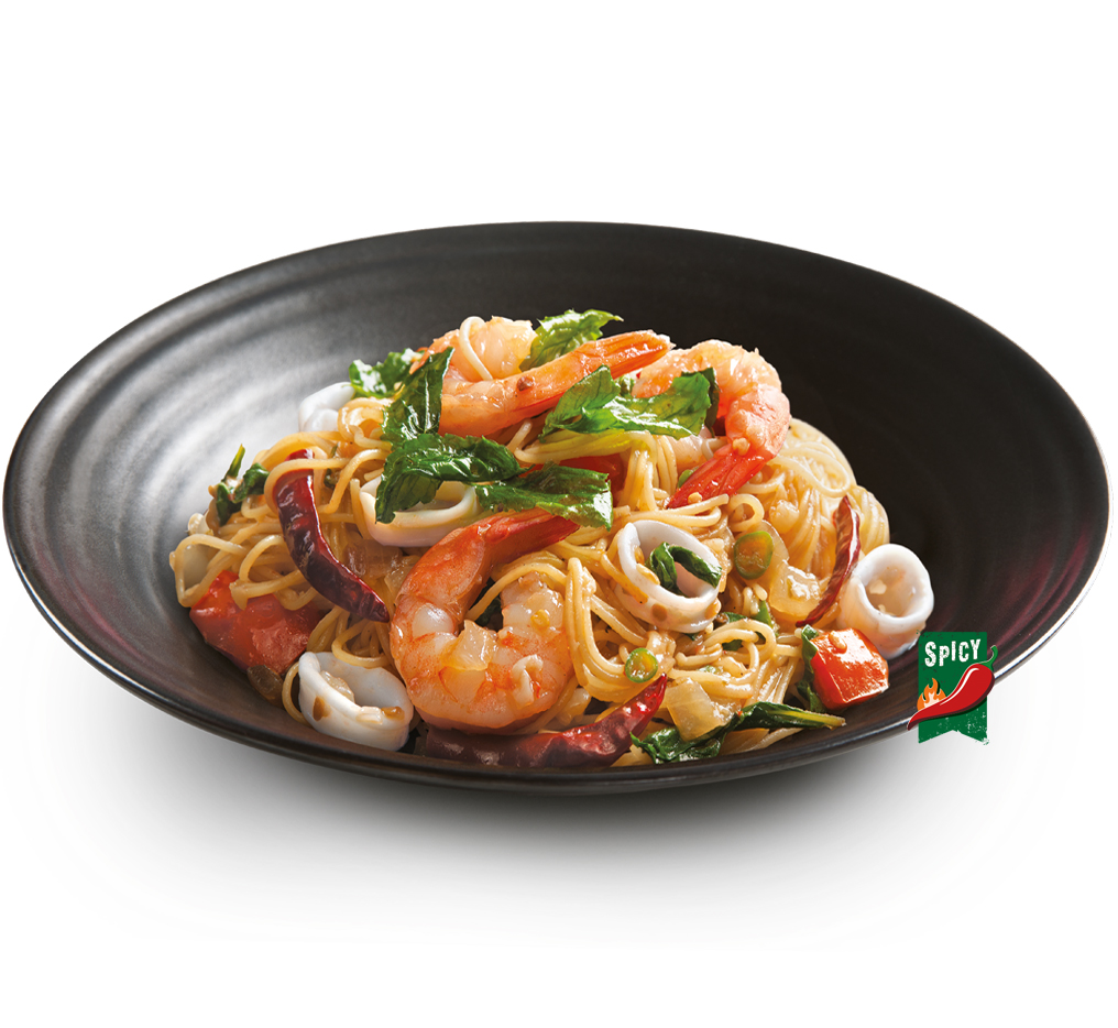 Stir Fried Pasta with Seafood in Thai Spicy Sauce Image